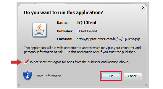 Java Certificate pop-up for the Real-time Streaming service
